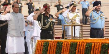 Rajnath Singh pays tribute at National War Memorial,